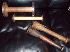 Lot of 4 Vintage Wooden Industrial Bobbin, Quill, Spool, Thread, Yarn, Textile
