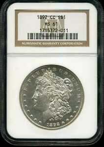 1892-CC $1 Morgan Silver Dollar MS61 NGC 1715372-011