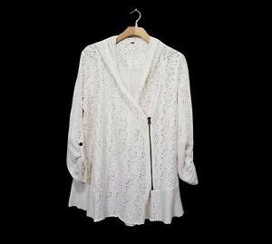 Free People Oversized Hoodie Sweatshirt Cardigan Zipper Roll Tab Sleeve Ivory