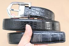 Luxury Unjointed Black Genuine Alligator Crocodile Belt SKIN Leather Men's