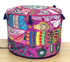"22"" Indian Handmade Round Ottoman Pouf Cover Patchwork Footstool Home Decorative"