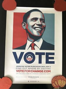 """Shepard Fairey """"OBAMA"""" 2008 VOTE poster OBEY Early Vote 24x18"""