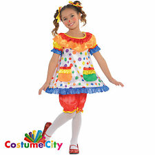 Childs Girls Carnival Circus Clown Dress Fancy Dress Party Halloween Costume