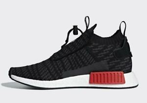 Adidas NMD TS1 Primeknit Bred Men Shoes B37634 Black/Grey/Red Sneakers
