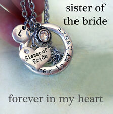 Sister of the Bride Forever In My Heart Necklace w-Birthstone Crystal & Letter