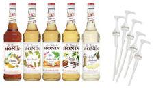 MONIN Sirup 5-Set Karamell, Vanille, Praline-Nuss, Haselnuss, Weisse Schokolade inkl. 5 Pumpen und Rezeptheft