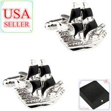 Fashion Men Cufflinks Black Ship Sait Boat Yacht Cuff Links With Gift Box