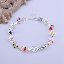 Bettelarmband Strass Armband bunte Steine Damen Geschenk versilbert Art 925 - 8