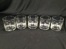 "(5) Vintage Clear Glass Drinking Glasses Monogrammed ""B"" B - NICE Condition 3"""