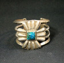 Sterling Silver Vintage Bracelet Cuff Turquoise Stone Artisian