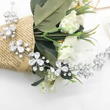 Bridal Hair Vine Simulated Diamonds Pansy Chain design Rhodium Plated