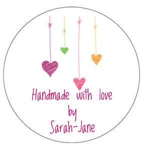 72 Personalised Hanging Hearts Handmade with love Stickers Labels