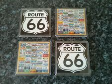 License Plates of America / Route 66 Coasters x 4 NEW Acrylic (2 of Each Design)