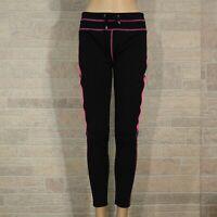 Silver Leg Misses LARGE Leggings Pants Black Pink Trim Elastic Drawstring Waist