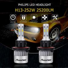 2X H13 9008 252W 25200LM PHILIPS LED Headlight Kit Hi/Low Beam Bulbs White 6000K