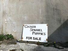 More details for vintage industrial wooden painted cocker spaniel dog sign