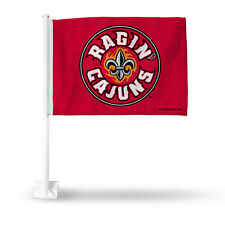 Louisiana Ragin Cajuns Car Flag New! Nfl Free Shipping! Red with Pole