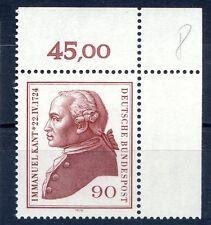 Federale mi-nr 806 angolo 2 (90) - 250.geb. Immanuel Kant - ** POSTA fresco 1974-3