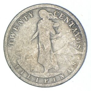 Roughly Size of Nickel 1908 Philippines 20 Centavos World Silver Coin *595