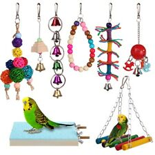 8pcs Bird Ladder Swing Toys Play Set fun Colorful Hanging Bells for Bird Cages