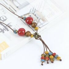 Ceramic Bead Flower Fashion Necklace brown slim braid Adjustable Length