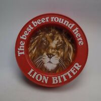 Lion Bitter Best Beer Round Here Vintage Red Plastic Pub Ashtray Home Bar