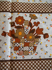 """Funky floral 70s retro curtains/fabric 1 panel 34 x 36"""" Brown Patchwork Gingham"""