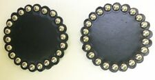 """2 BLACK BRIDLE LEATHER ROSETTES/CONCHOS-NICKLE SPOTS-2""""-DYED EDGES-FREE SHIPPING"""