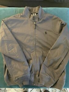 Polo Ralph Lauren Mens L Barracuda Plaid Lined Harrington Jacket Combat Gray