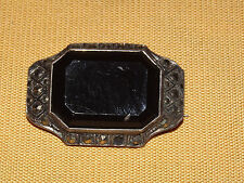 VINTAGE SILVER JEWELRY GERMANY STERLING MARQUISITE ONYX PIN
