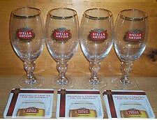 STELLA ARTOIS 4 CHALICE BEER GLASSES 33cl & RARE HOLIDAY COASTERS SET NEW