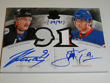 2010-11 THE CUP STEVEN STAMKOS JOHN TAVARES HONORABLE NUMBERS AUTO PATCH 39/91
