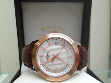 Genuine ROTARY Mens Watch Rose Gold plated, Leather Limited Edition NEW RRP £170