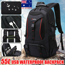 50L USB Waterproof Backpack Rucksack Luggage Bag Travel Camping Outdoor