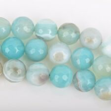 8mm Round Agate Beads, Robin's Egg BLUE Faceted Turquoise Blue AGATE gag0336