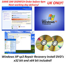 Microsoft windows xp pro réparation recovery dvd sp 3 x32 & x64 bit boot système dos