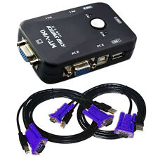 2-Port USB VGA KVM Switch Box+Cables for Computer Sharing Monitor Keyboard Mouse