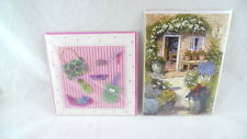 2 BLANK Greeting Cards IN PLASTIC WRAP Colorful Garden & Handbags