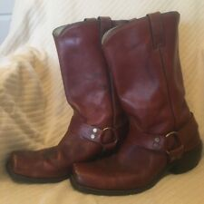 Mens Maroon Red Leather Vintage Motorcycle Cowboy Boots Size 12 EE Harness Look