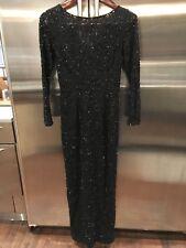 Women's CARMEN MARC VALVO Black Full Length Long Sleeve Beaded Gown Size 10
