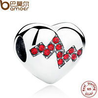Bamoer Authentic S925 Sterling Silver c Heart Charms With Red CZ For Bracelets