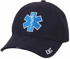 Men's Navy Blue Embroidered Star of Life EMS EMT Logo Deluxe Low Profile Cap Hat