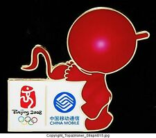 OLYMPIC PIN BEIJING 2008 CHINA MOBILE SPONSOR RED SHINY