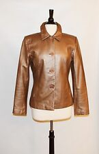 Margaret Godfrey Copper Genuine Lambskin Leather Womens Blazer Jacket Size 6