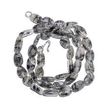 "Natural Black Rutile Quartz Gemstone Oval Smooth Beads Necklace 18"" Long FG2"