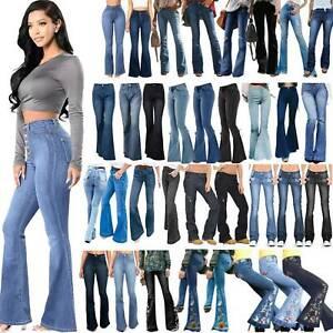 Women's Retro High Waist Flared Casual Jeans Long Denim Pants Bell Trouser