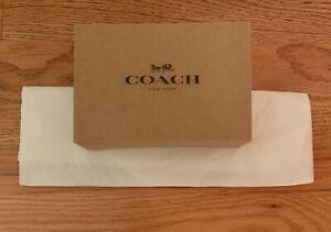"""Coach Gift Box w/ Coach Tissue Paper 6.5"""" X 4.5"""" X 2"""" Brown w/ Black Coach Logo"""