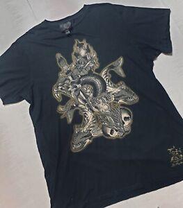Ed Hardy Black T-shirt size 2 XL Men's  Christian Audigier rare rock goth C55