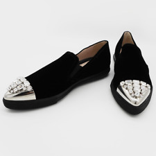 Miu Miu Womens Shoes Flats Slip On Sneakers Black 40 Leather Velvet Crystal