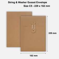More details for c5 size quality string and washer envelopes button tie brown manilla cheap
